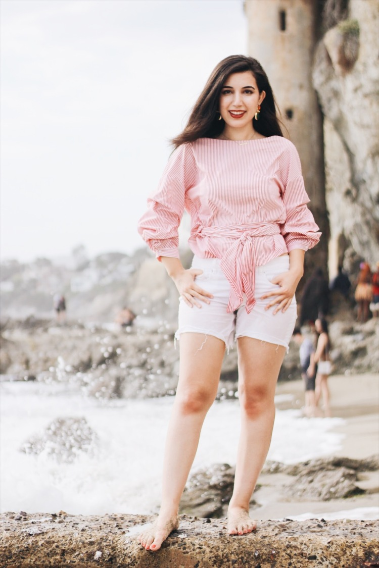 Laguna Beach, Victoria Beach, California, Zara, lookbook, beach outfit, white shorts, statement earrings