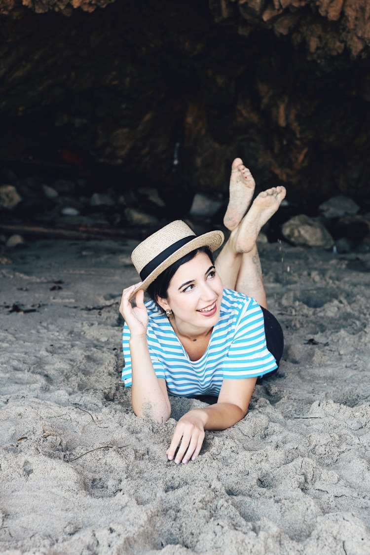 beach style, bowler hat, JCrew, striped top, nautical, fashion, lookbook, ootd