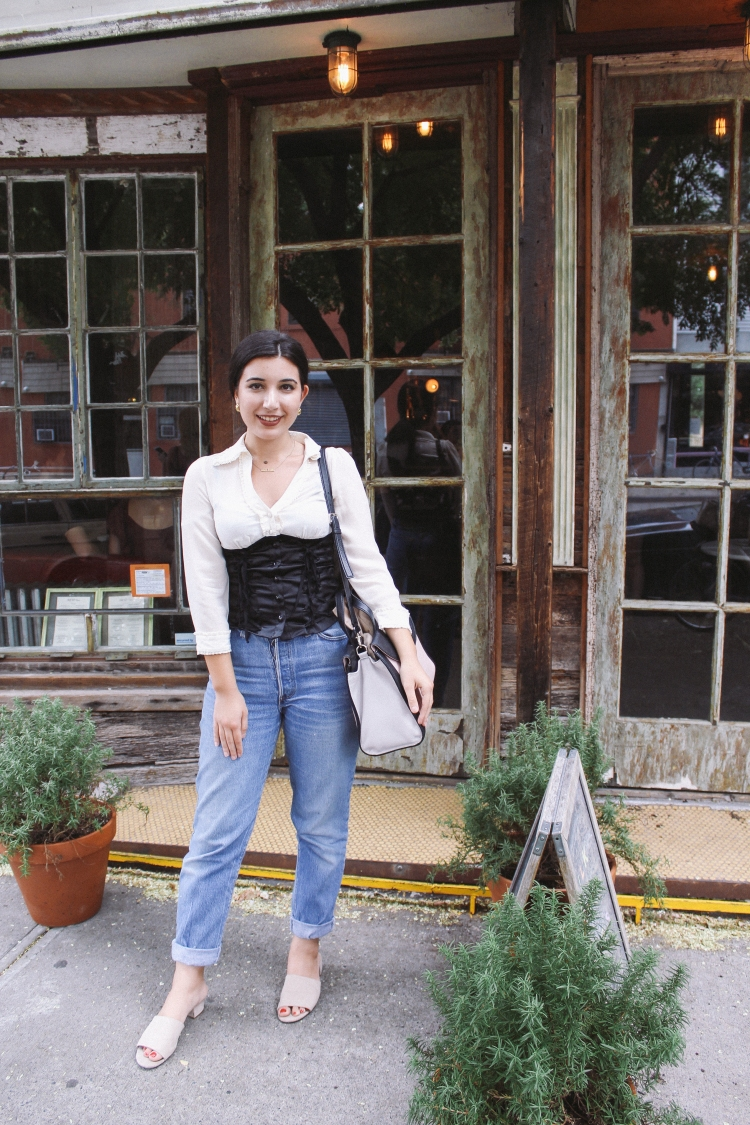 Milk and Roses, Brooklyn, lookbook, corset, blouse, slides, mules, Kate Spade, fashion blogger, style, fashion, high fashion, every day look, outfit of the day, ootd, Levis, books, coffee, tea, coffee shop, New York