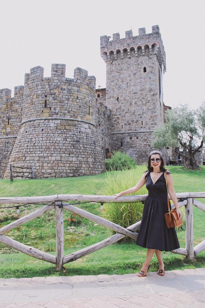 Castello di Amorosa, Napa Valley, wine tasting, Medieval, The Middle Ages, castle, Castello di Amorosa, Calistoga, architecture, Napa outfit, black dress, Fendi, Prada, lookbook, summer style, classic style, chic