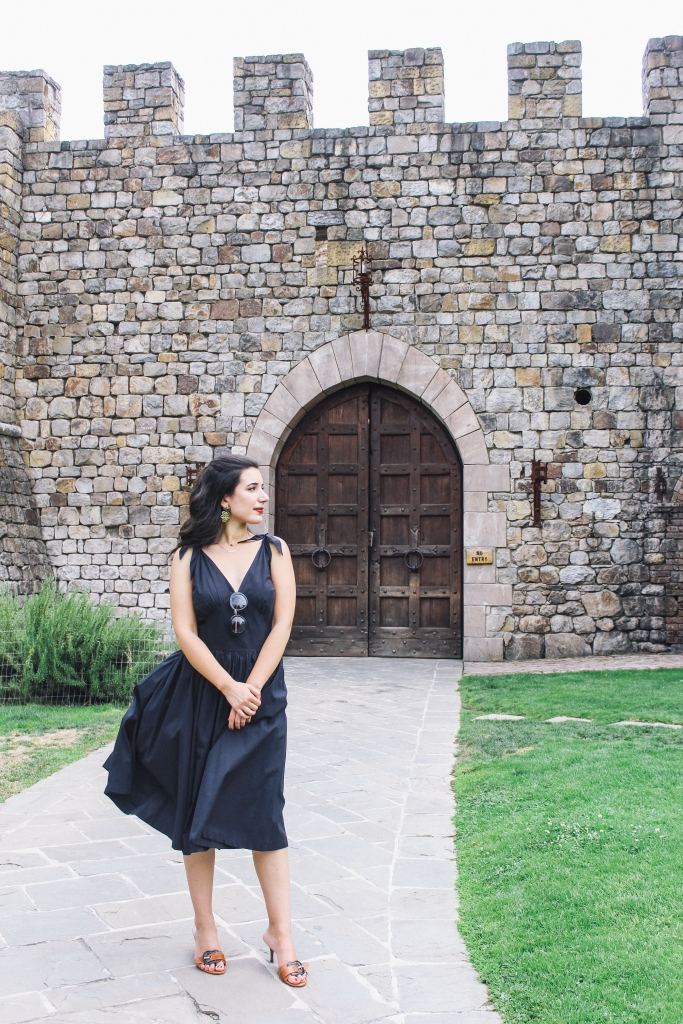 Castello di Amorosa, Napa Valley, wine tasting, Medieval, The Middle Ages, castle, Castello di Amorosa, Calistoga, architecture, Napa outfit, black dress, Fendi, Prada, lookbook, summer style, classic style, chic, fashion editorial