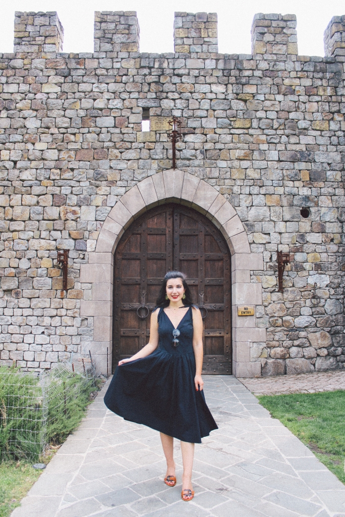 Castello di Amorosa, Napa Valley, wine tasting, Medieval, The Middle Ages, castle, Castello di Amorosa, Calistoga, architecture, Napa outfit, black dress, Fendi, Prada, lookbook, summer style, classic style, chic, fashion editorial