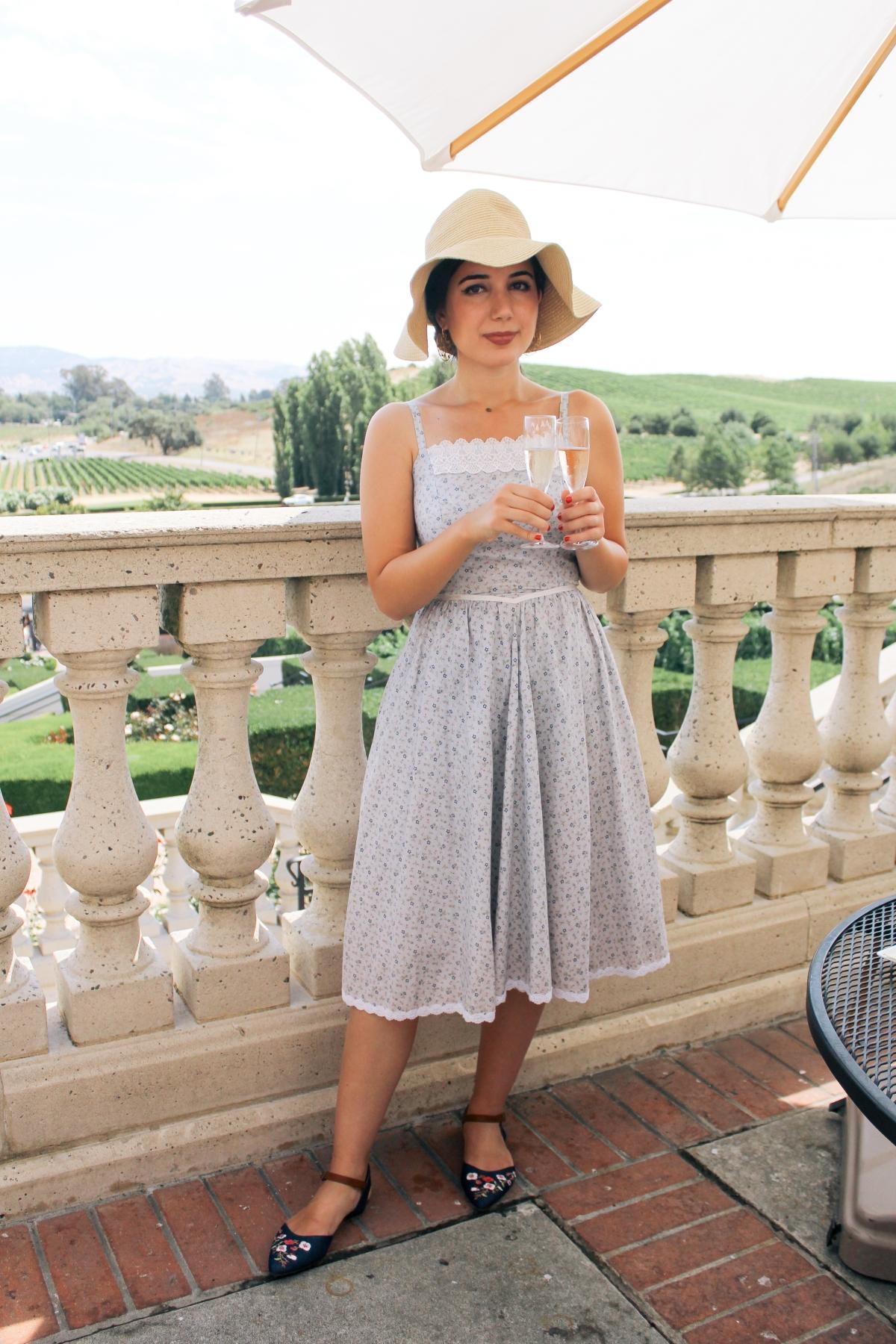 Domaine Carneros Winery, Napa outfit, Napa Valley, landscape photography, sundress, ootd, vintage dress, floppy hat, embellished flats, summer style, sparkling wine