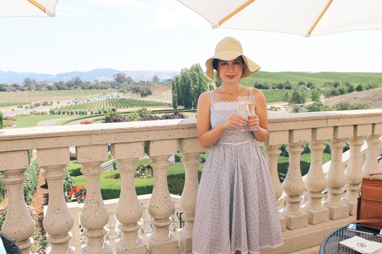 Domaine Carneros Winery, Napa outfit, Napa Valley, landscape photography, sundress, ootd, vintage dress, floppy hat, embellished flats, summer style