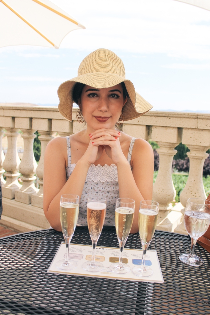 Domaine Carneros Winery, Napa outfit, Napa Valley, landscape photography, sundress, ootd, vintage dress, floppy hat, embellished flats, summer style, sparkling wine