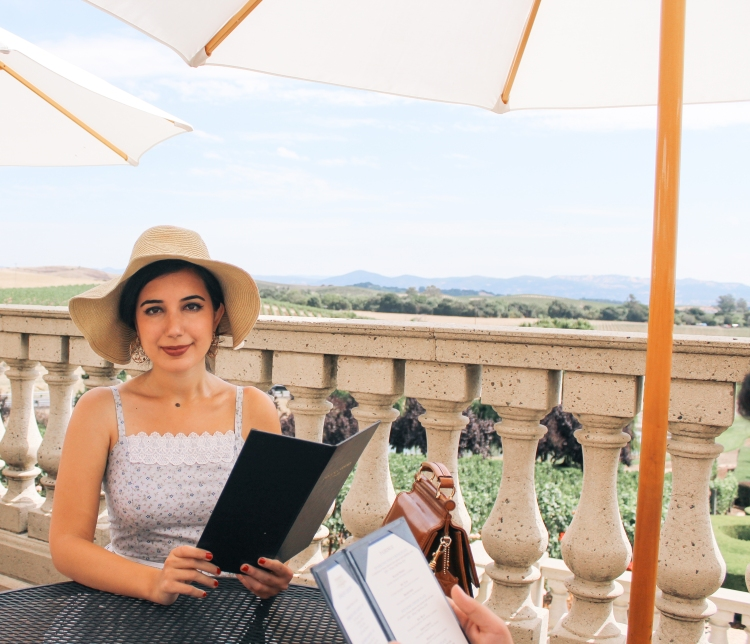 Domaine Carneros Winery, Napa outfit, Napa Valley, landscape photography, sundress, ootd, vintage dress, floppy hat, embellished flats, summer style