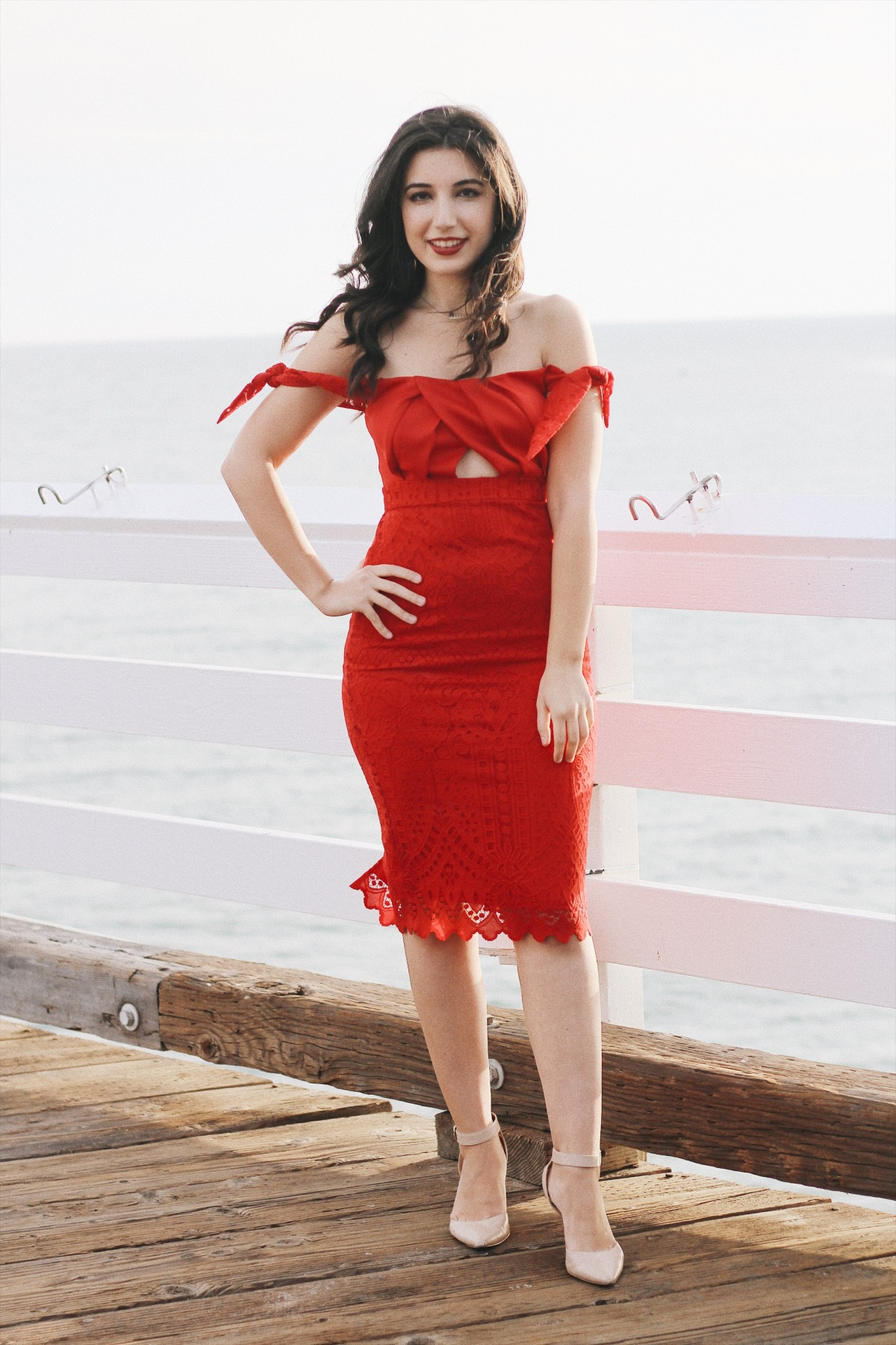 ASOS, Red, lookbook, off the shoulder, dress, formal dress, red dress, lace dress, fashion, fashion blogger, Malibu Farm, Malibu Pier, California, LA Style, evening style, red lips, curly hair, Old Hollywood, sorority formal photos, photography, VSCO Cam, VSCO fashion, curly hair