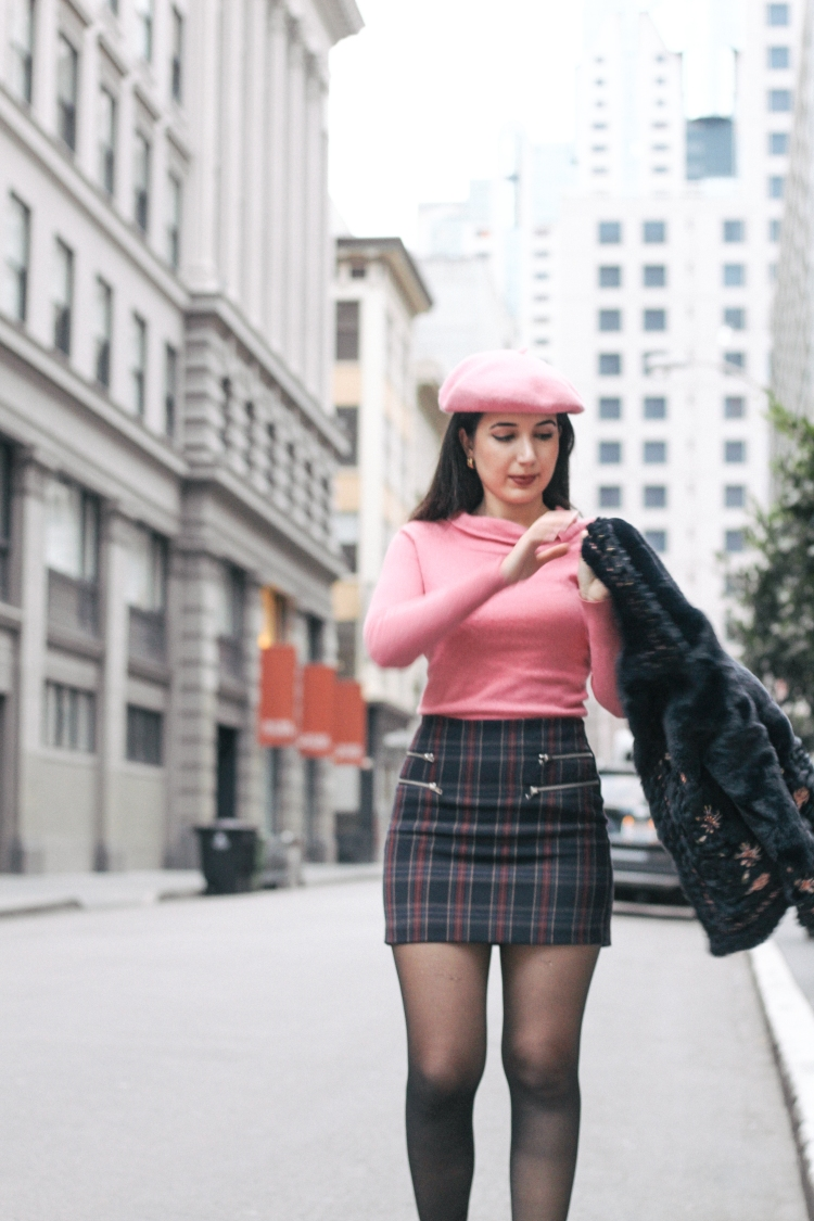 French style, French girl, San Francisco, San Francisco street style, street style, fashion blogger, fashion girl, plaid skirt, Clueless fashion, fall fashion, Gucci, Forever 21, Zara, fur coat, beret, pink, pink sweater, lookbook, ootd, outfit of the day