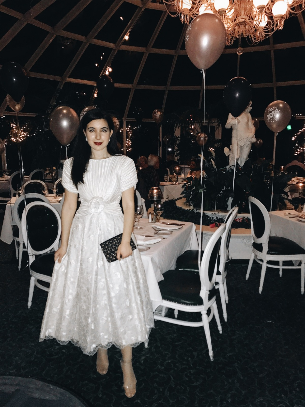 New Years Eve, vintage dress, vintage couture, Sardine Factory, Monterey, California, formal dress, dinner, fancy dinner, fashion blogger, lookbook, ootd, what I wore, fashionista, naked shoes, vintage fashion, vintage style, clutch, 2018