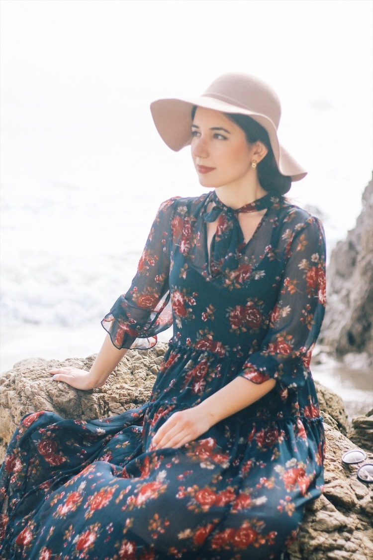 prairie dress, floral dresses, maxi dresses, floppy hat, beach fashion, fall fashion, California fall, Forever 21, flowy dress, lookbook, fashion blogger, ootd, outfit of the day, Los Angeles fashion, vintage fashion, prairie fashion, style, style blogger