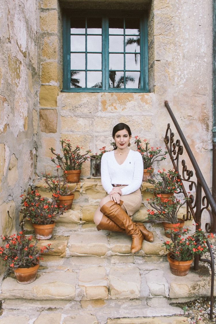 Santa Barbara, Santa Barbara Mission, outfit of the day, ootd, lotd, lookbook, California, California style, neutrals, Polo Ralph Lauren, Calvin Klein, ALDO, over the knee boots, sweater, preppy, sweater skirt, fashion blogger, California blogger