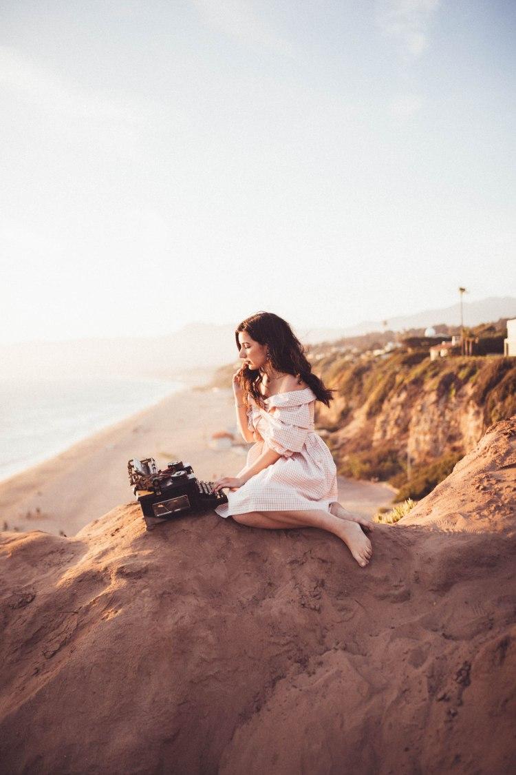 Chriselle x J.O.A collection, vintage, vintage fashion, retro fashion, off-the-shoulder dress, gingham, pink, lookbook, fashion blogger, Malibu, California, photography, golden hour, retro, typewriter, journalist