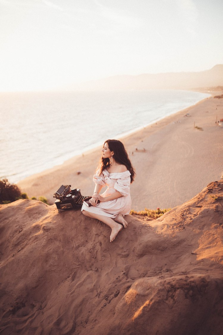 Chriselle x J.O.A collection, vintage, vintage fashion, retro fashion, off-the-shoulder dress, gingham, pink, lookbook, fashion blogger, Malibu, California, photography, golden hour, retro, typewriter, journalist