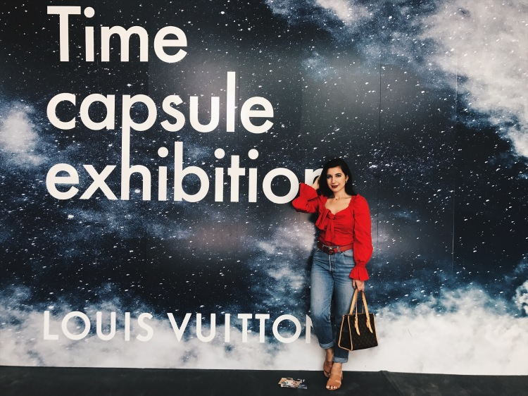 Louis Vuitton Time Capsule Exhibition LA, Lucy Paris, Louis Vuitton, Louis Vuitton bag, Gucci belt, red top, Levis, lookbook, fashion blogger, pop up exhibit, LA style, belle sleeves, red lips, style, ootd, outfit of the day, fashionista, slides, vintage