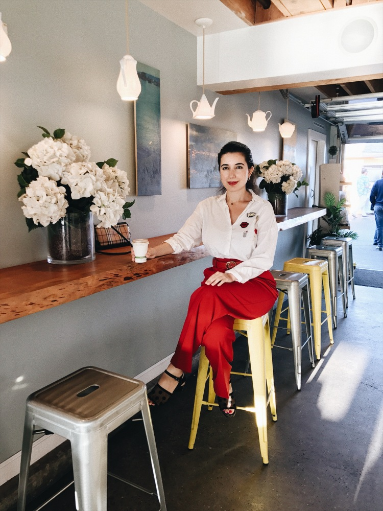 fashion blogger, red, red lips, red trousers, Monterey, CA, summer fashion, lookbook, outfit of the day, gold hoop earrings, oceanside, coffee shop, photography, Water and Leaves, Monterey, blogger, ootd, lotd, fashion advice, button down top, Zara, Mango, Gucci belt