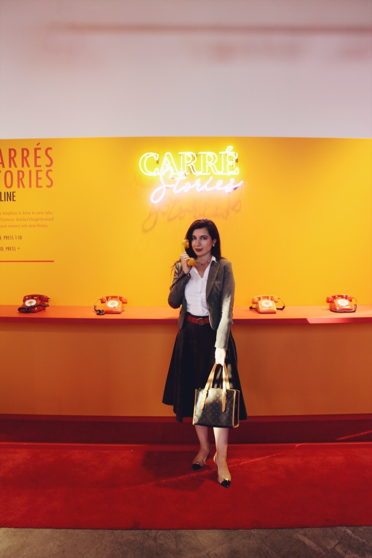 Hermes Carre Club Los Angeles, Los Angeles fashion, fashion pop up, Hermes pop up, Hermes, high fashion, Hermes scarf, lookbook, fashion, fashion blogger, outfit of the day, ootd, Gucci belt, Louis Vuitton handbag, Coach heels, style, style blogger, fall style tweed, blazer, white, button down