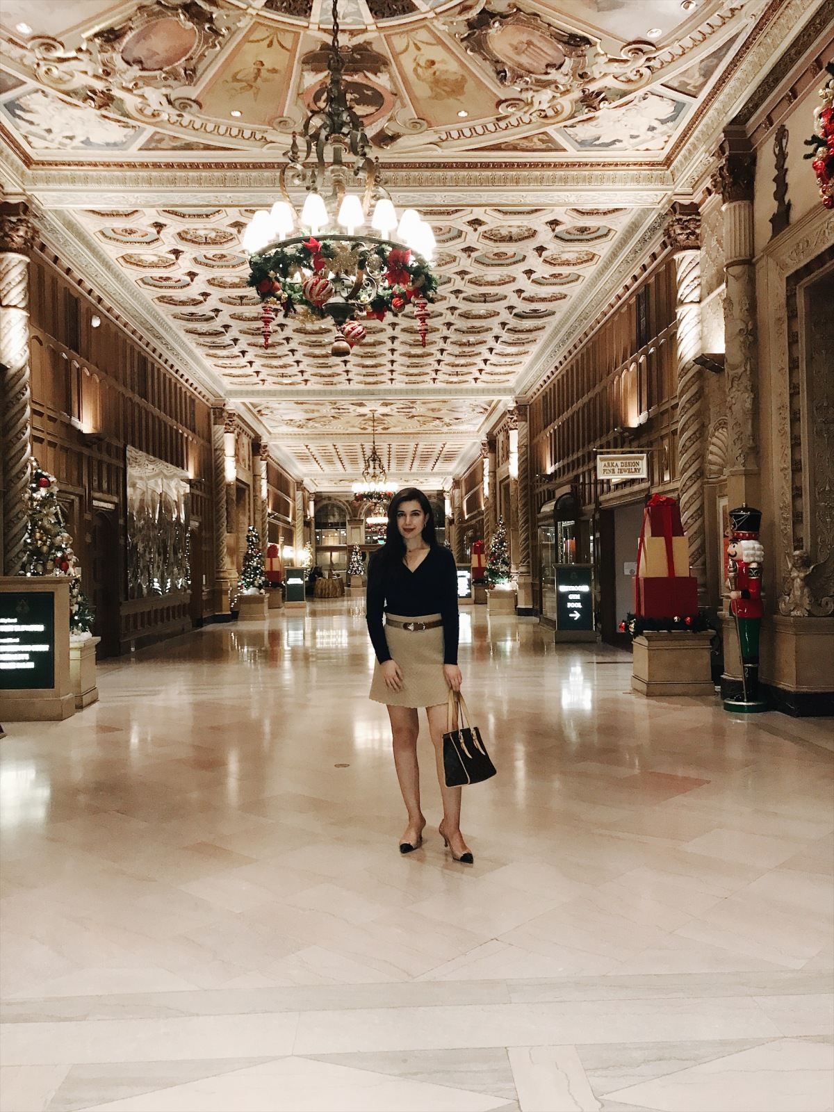 The Millenium Biltmore Hotel, historic hotel, Christmas outfit, Christmas traditions, cashmere sweater, Coach heels, Calvin Klein, Cynthia Rowley, Louis Vuitton, lookbook, fashion blogger, style blogger, Christmas style, Christmas lookbook, winter outfit