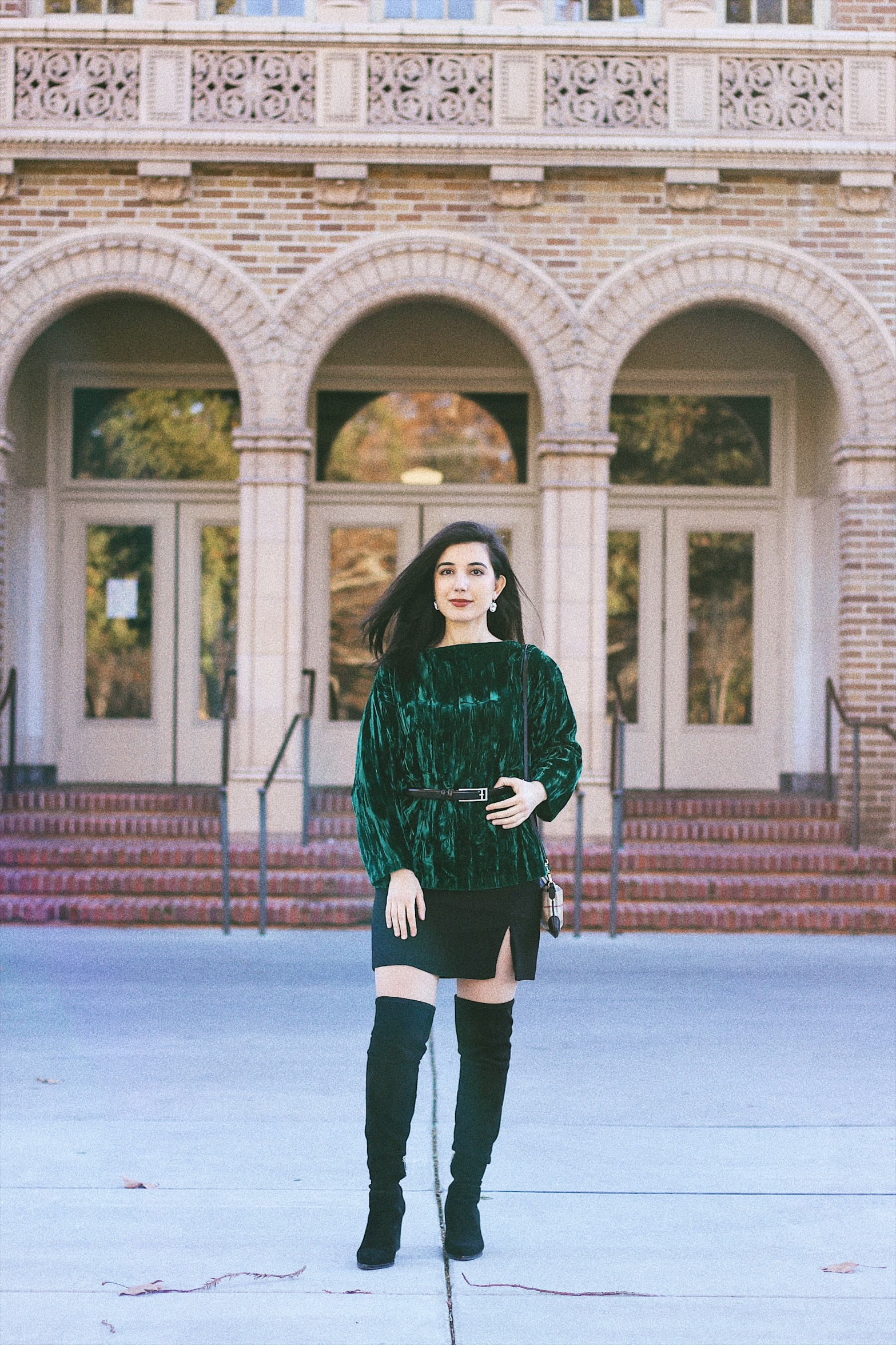 New Year's Eve lookbook, fashion blogger, style blogger, lookbook, outfit of the night, green velvet, over-the-knee boots, belted top, New Year's Eve, NYE