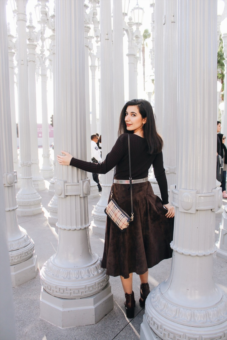 monochromatic outfit, brown suede, brown ankle boots, brown belt, Burberry, Burberry Spring 2019 Ready-to-Wear, Mr. Tisci, lookbook, ootd, outfit of the day, chic, winter style, Los Angeles street style, LA style, Los Angeles fashion blogger, style blogger, LA fashion blogger, Sorel, Burberry, mid-length skirt, vintage fashion, LACMA,