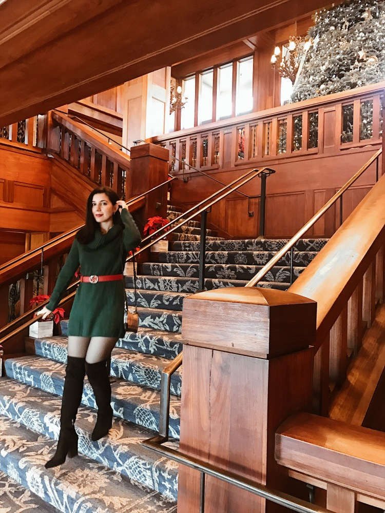 Monterey Plaza Hotel and Spa, green and red outfit, Christmas outfit, winter style, winter outfit, lookbook, outfit of the day, ootd, look of the day, over-the-knee boots, Gucci, Gucci belt, H&M, suede boots, red lipstick