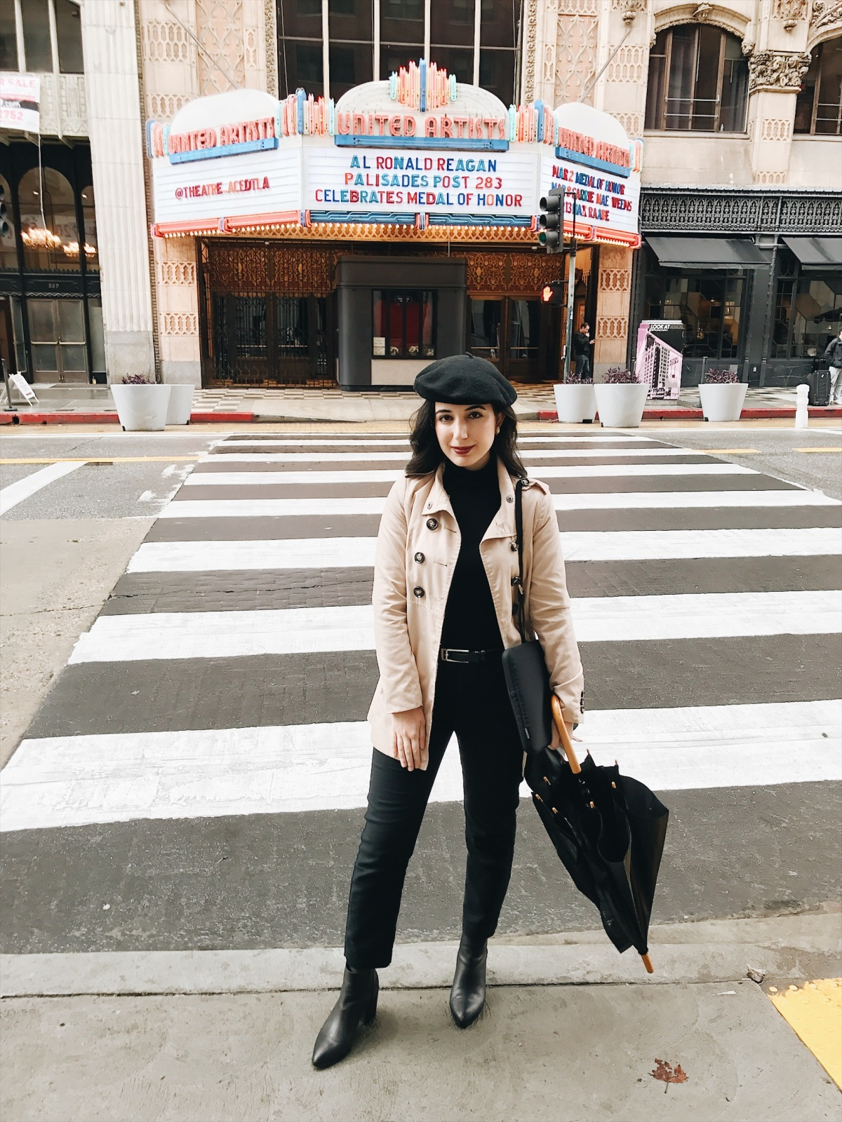 lookbook, fashion blogger, fashion, style, style blogger, travel, travel blogger, beret, outfit of the day, ootd, look of the day, French fashion, Parisian fashion, trench coat, black turtleneck, red lipstick, ankle boots, Steve Madden ankle boots, black trousers, winter style, winter fashion