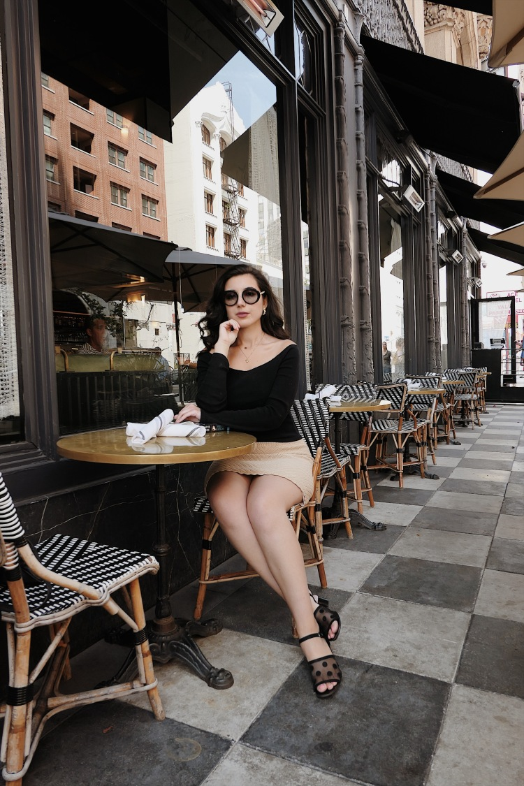 Downtown Los Angeles, DTLA, Los Angeles architecture, Los Angeles blogger, LA fashion blogger, fashion blogger, lookbook, minimalism, Calvin Klein, Michael Kors, Vintage jewelry, curly hair, Zara, what I wore, Sunday brunch, brunch outfit, summer style, Ace Hotel, coffee shop