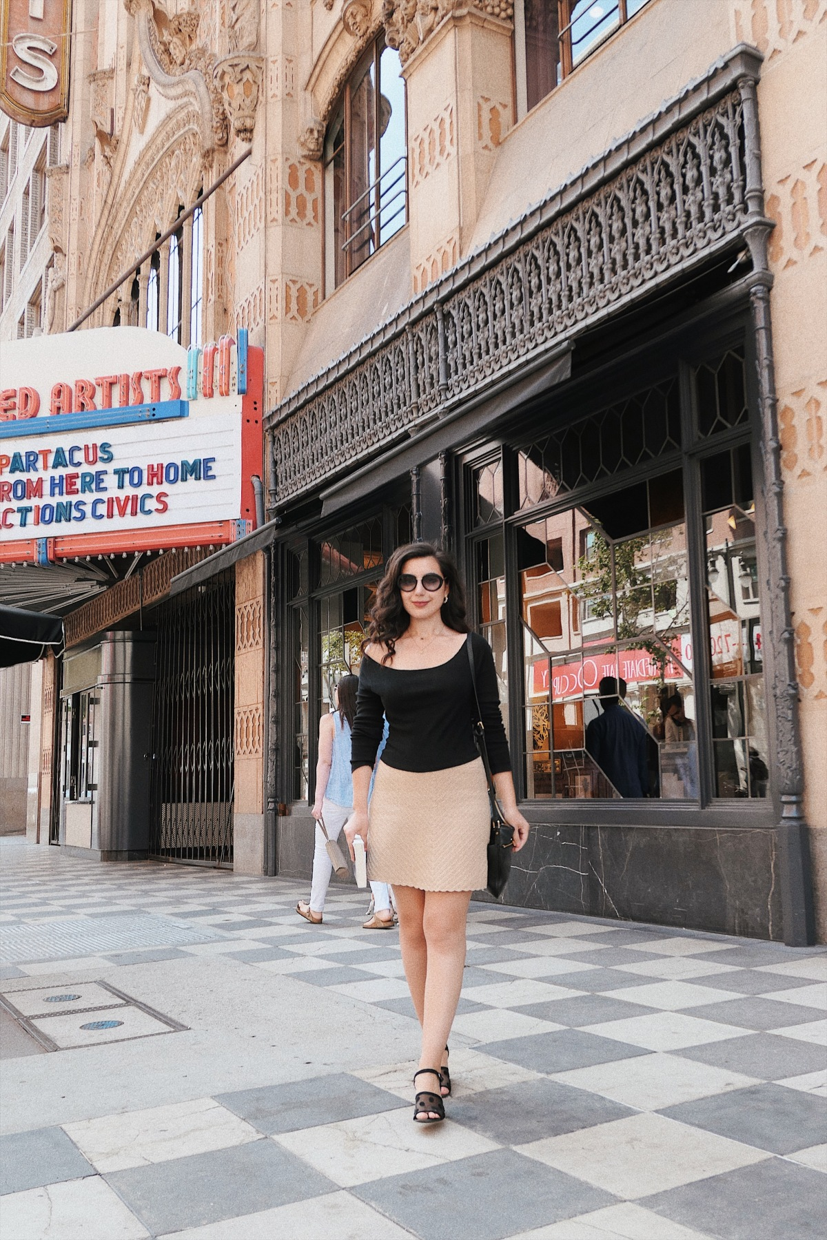 Downtown Los Angeles, DTLA, Los Angeles architecture, Los Angeles blogger, LA fashion blogger, fashion blogger, lookbook, minimalism, Calvin Klein, Michael Kors, Vintage jewelry, curly hair, Zara, what I wore, Sunday brunch, brunch outfit, summer style