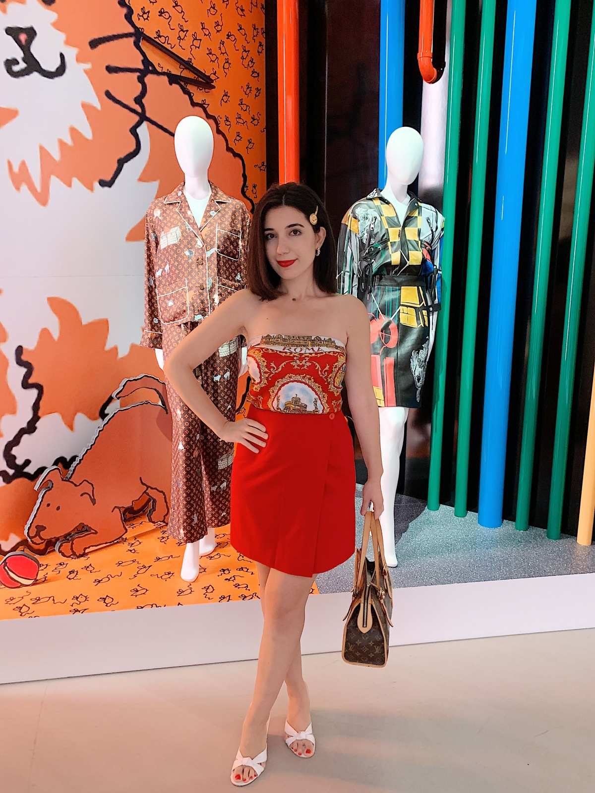 Louis Vuitton X, LVX, Louis Vuitton, Beverly Hills, Louis Vuitton Beverly Hills, lookbook, Los Angeles, LA fashion blogger, look of the day, ootd, outfit of the day, summer fashion, scarf top, Versace hair clip, red skirt, short hair, red lips, vintage fashion