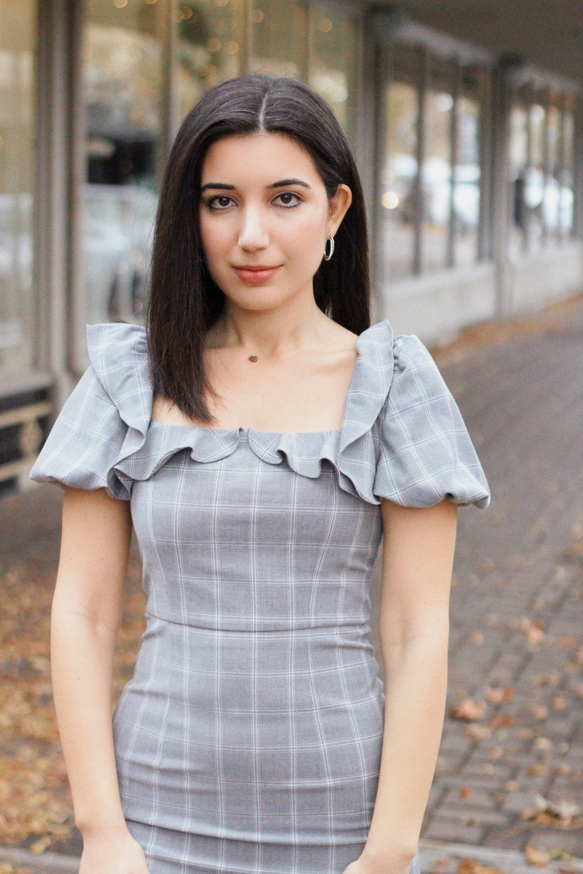 J.ing, winter fashion, winter style, winter style 2019, fashion editorial, lookbook, ootd magazine, plaid dress, gray dress, ruffles, puffy sleeves, silver hoop earrings, fashion blogger, vintage style, Little Women fashion, over-the-knee boots, suede black boots
