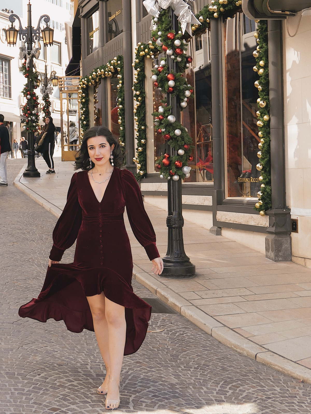 red velvet, Christmas dress, Christmas outfit, gown, red velvet, fashion blogger, LA blogger, Beverly Hills, Christmas in Beverly Hills, Christmas in Los Angeles, high fashion, luxury, Edwardian, vintage, rhinestone necklace, rhinestone earrings, Nanamacs, Jeffrey Campbell shoes, curly hair, red lips