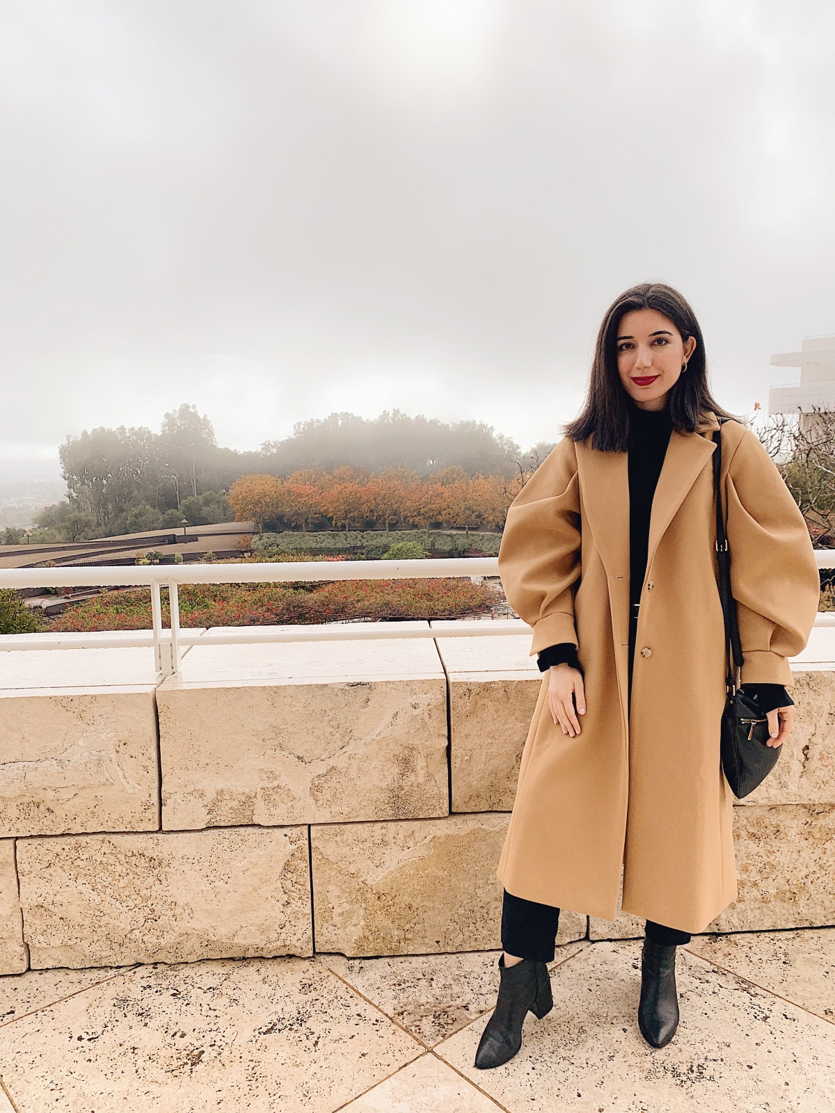 Storets, winter coat, winter wardrobe, outfit of the day, trench coat, lookbook, fashion blogger, LA blogger, lifestyle blogger, Getty Museum, storets coat, outerwear, red lips, Michael Kors, Zara, Audrey Hepburn