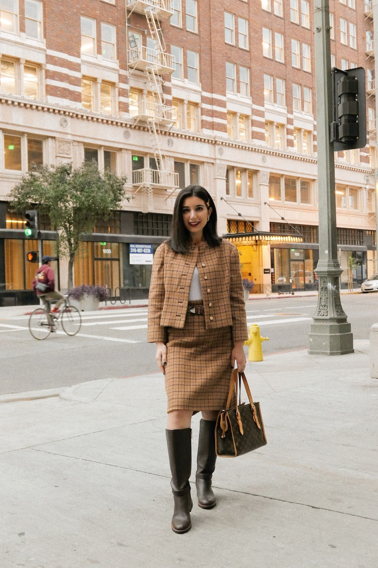The Hoxton DTLA, DTLA, Dowtnown Los Angeles, lookbook, fashion blogger, Los Angeles fashion blogger, tweed, Barneys New York, tweed suit, skirt suit, plaid suit, knee high boots, Tommy Hilfiger boots, vintage, Versace, Versace hairpin, ootd, outfit of the day, street style