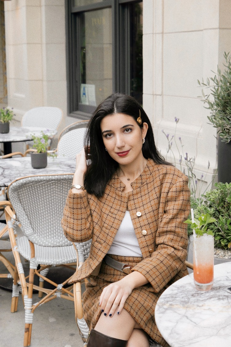 The Hoxton DTLA, DTLA, Dowtnown Los Angeles, lookbook, fashion blogger, Los Angeles fashion blogger, tweed, Barneys New York, tweed suit, skirt suit, plaid suit, knee high boots, Tommy Hilfiger boots, vintage, Versace, Versace hairpin, ootd, outfit of the day
