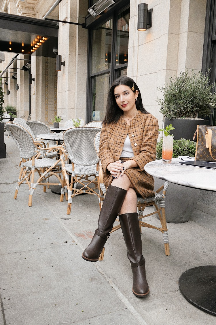The Hoxton DTLA, DTLA, Dowtnown Los Angeles, lookbook, fashion blogger, Los Angeles fashion blogger, tweed, Barneys New York, tweed suit, skirt suit, plaid suit, knee high boots, Tommy Hilfiger boots, vintage, Versace, Versace hairpin, ootd, outfit of the day, al fresco dining