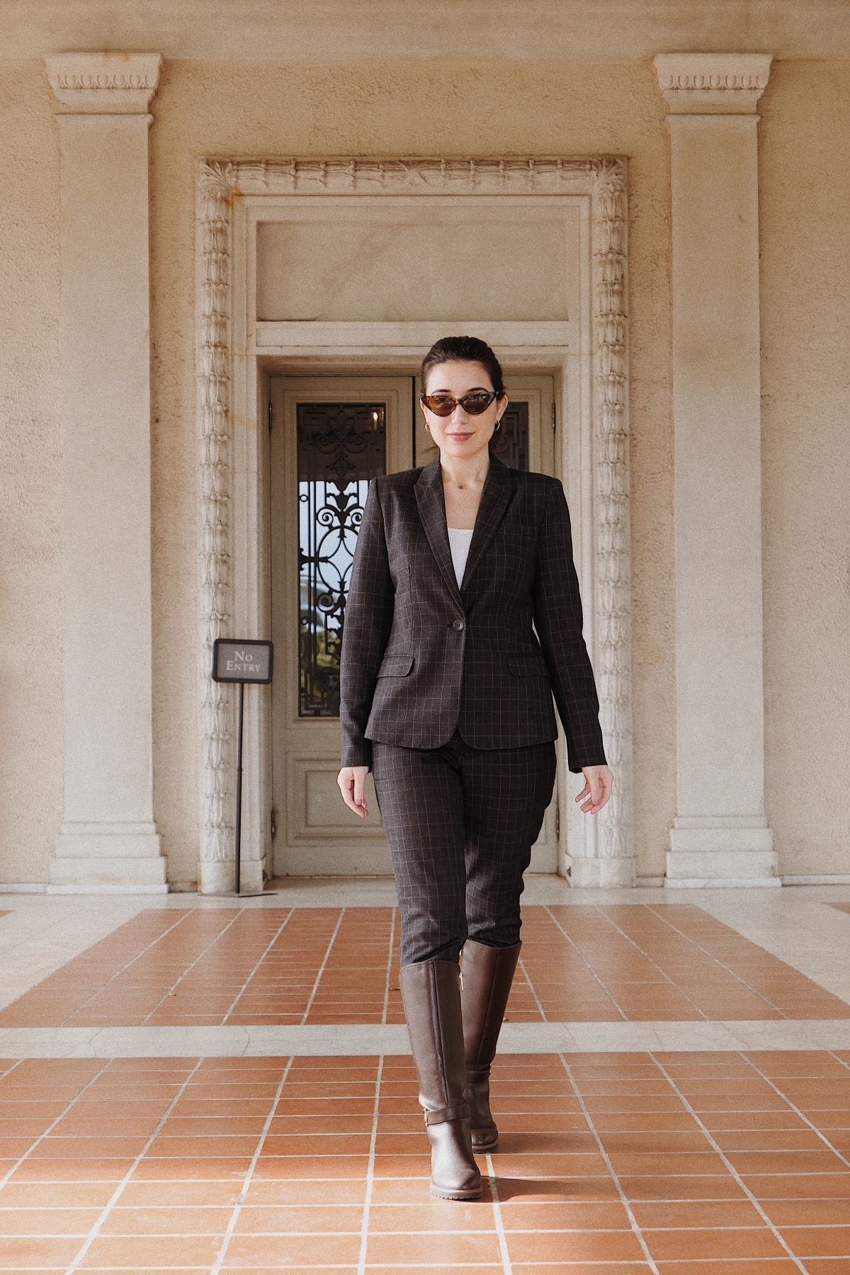 The Huntington Library, San Marino, LA blogger, fashion blogger, lookbook, ootd, outfit of the day, suit, riding boots, Tommy Hilfiger boots, plaid suit, grey suit, vintage sunglasses, H&M suit, H&M, Los Angeles blogger, lifestyle, lifestyle blogger, style diary, fashion editorial