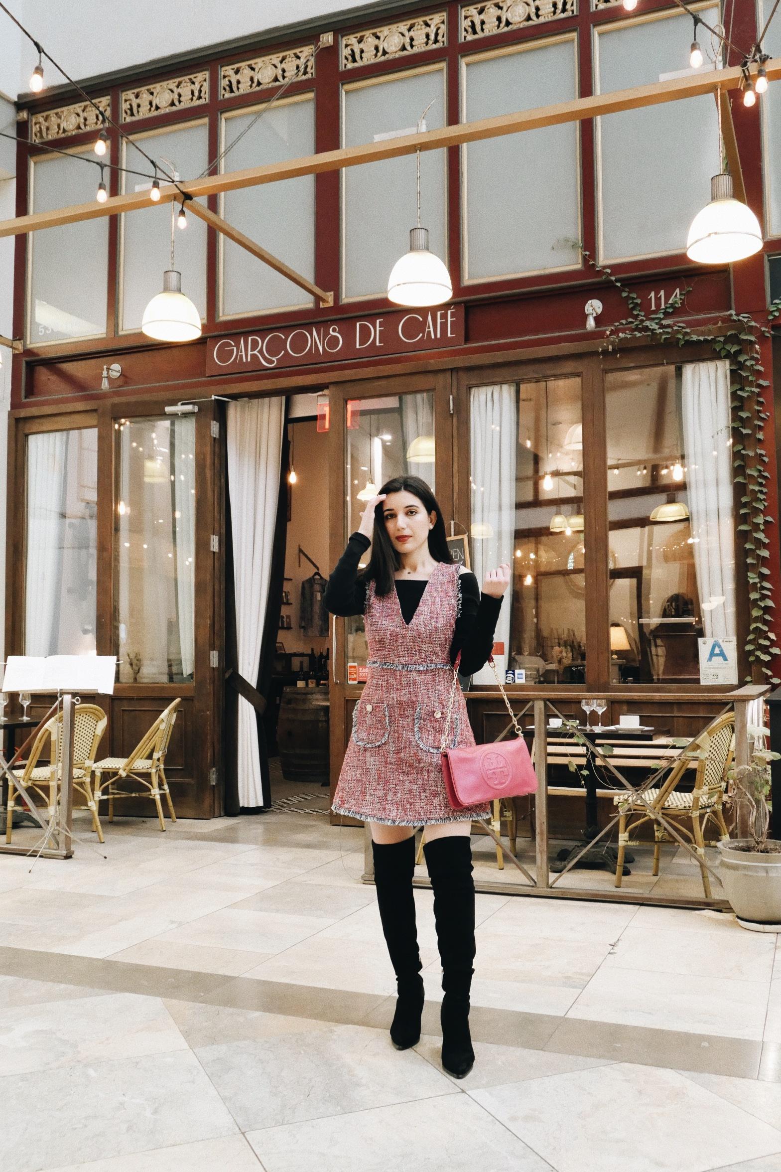 Garçons de Café, Spring Street Arcade, Downtown Los Angeles, LA city guide, Los Angeles restaurants, Best Los Angeles restaurants, cafe, cafe style, coffee shop, Los Angeles coffee shops, LA eats, tweed, Zara, Tory Burch purse, pink outfit
