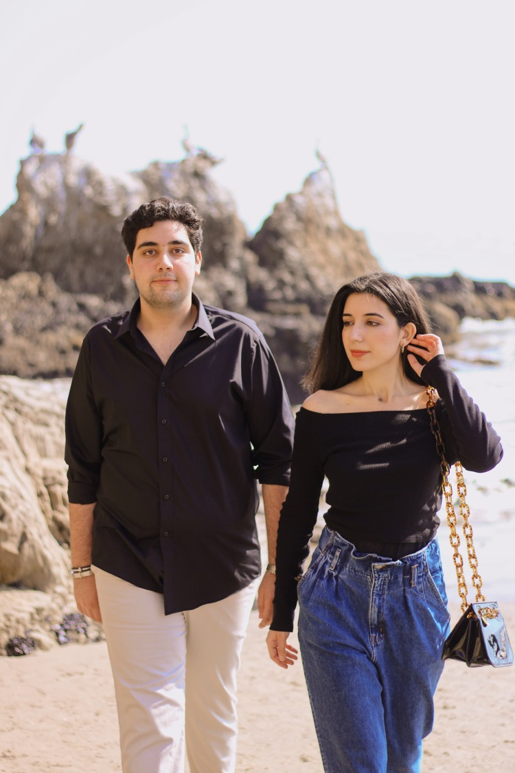 men's fashion, women's fashion, sibling style, brother and sister, winter editorial, beach photo shoot, beach fashion, Malibu, Malibu style, black top, mom jeans, khakis, lookbook, outfit of the day, matching outfits