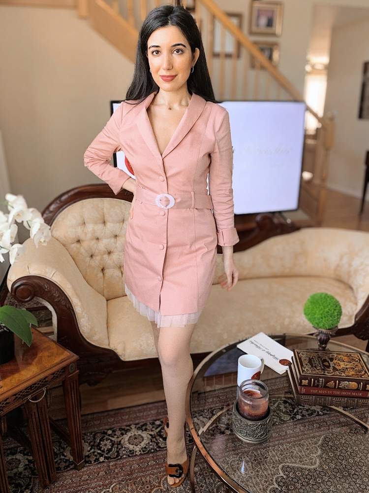 Revolve dress, Majorelle, pink dress, Fendi, Fendi shoes, blazer dress, outfit of the day, reporter, reporter style, Keeping it Krischic, talk show, TV host, MM multimedia journalist, COVID-19 news, Coronavirus, Coronavirus news, Freedom and Fashion, non profit, Laverne Delgado, Kristin Vartan, fashion, beauty, fashion therapy, art therapy,
