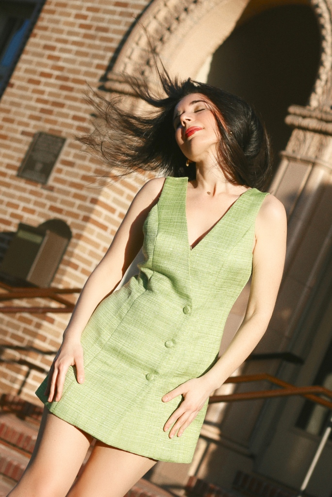 lime green dress, lime green, green dress, fashion, pantone color, fashion blogger, Revolve, Revolve dress, tweed dress, 1960s style, sixties style, retro fashion, summer dress, summer 2020, kitten heels, nude heels, low heels, Majorelle, lookbook, fashion editorial, summer 2020 trend, what to wear, what I wore, outfit of the day, ootd, sleeveless dress