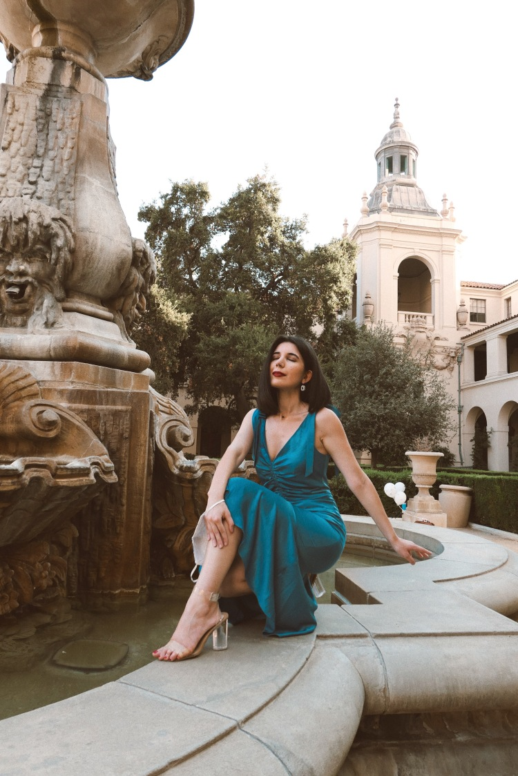 Pasadena, Pasadena City Hall, blue dress, mermaid dress, cocktail dress, ruched fabric, ruches dress, see through heels, strappy heels, Lucy Paris, California, fashion blogger, fashion, outfit of the day, lookbook, look of the day, style diary, think positive