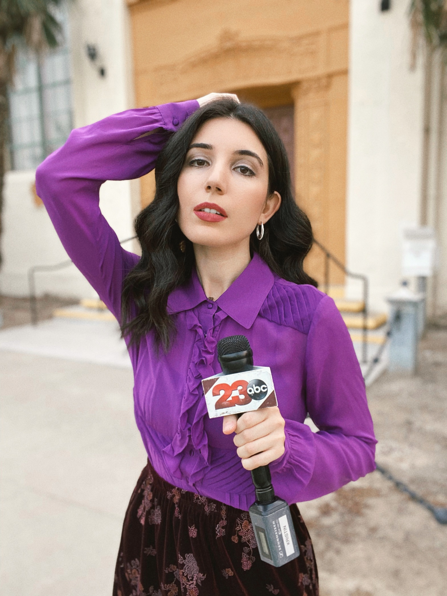 Edwardian top, purple top, ruffle top, velvet skirt, outfit of the day, ootd, vintage style, vintage top, silver earrings, silver hoop earrings, fashion blogger, on-camera reporter, style blog, outfit ideas, work outfits, work style, professional style