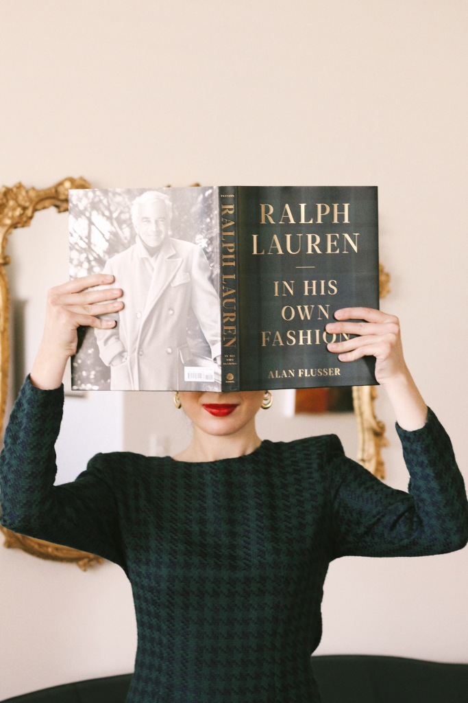 Christmas outfit, Christmas decorations houndstooth dress, gold hoop earrings, Christmas fashion, holiday fashion, holiday style, holiday outfit, red lips, green dress, shoulder pads, Ralph Lauren