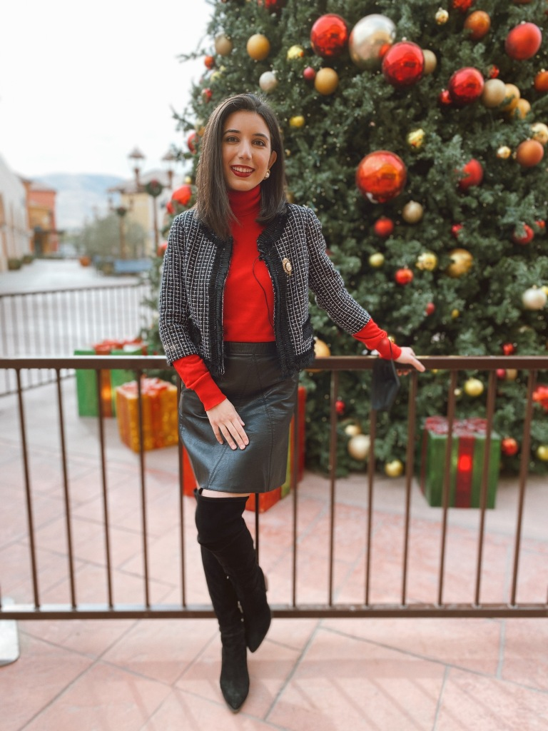 Christmas, Christmas outfit, holiday style, holiday fashion, tweed, Chanel, Chanel tweed, red turtleneck, turtleneck, pearl earrings, over the knee boots, suede boots, Nordstrom boots, Christmas tree, festive fashion, festive, cameo, brooch, leather skirt, Zara