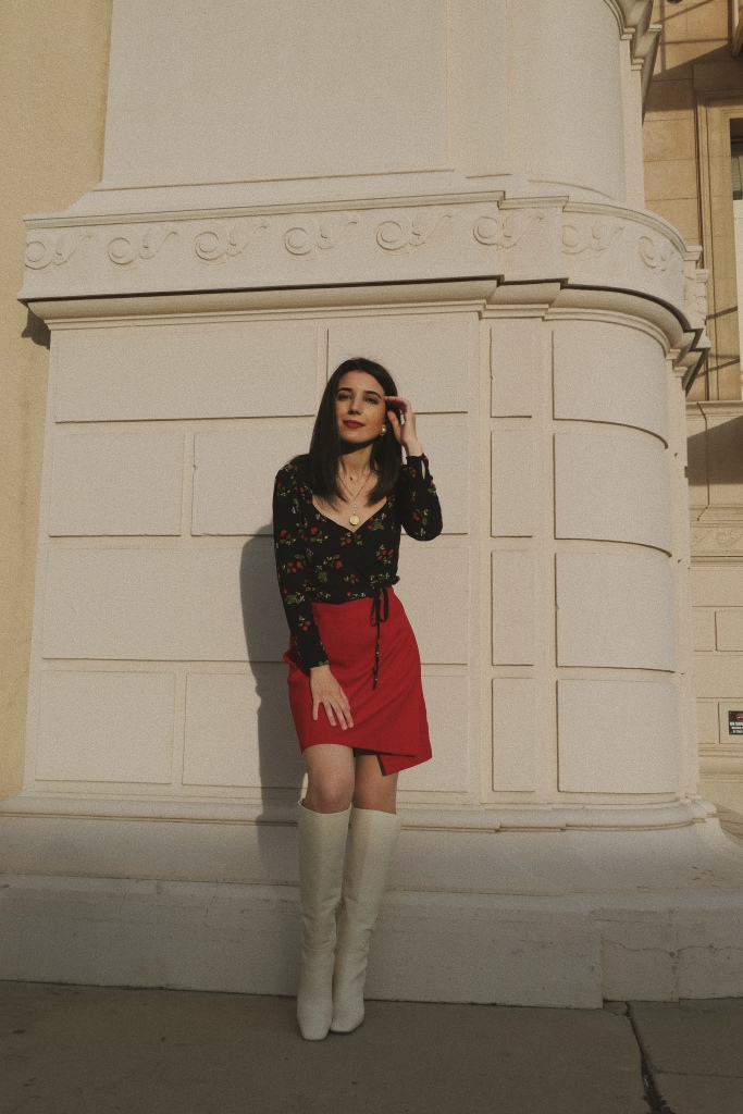 Aritzia Top, Aritzia, sweetheart neckline, sweeheart top, puffy sleeves, red skirt, midi skirt, wool skirt, skirt slit, Gorjana necklace, Gorjana, mod, mod style, '60s fashion, go-go boots, white boots, knee-high boots, white knee-high boots, Stuart Weitzman, fashion blogger, what I wore, wiw, outfit of the day, ootd, Tezza App