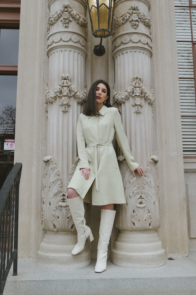 Pistachio dress, trench coat dress, green dress, Barneys New York, rhinestone earrings, midi dress, mid-length dress, button-down dress, vintage, vintage dress, vintage finds, mod, mod style, '60s fashion, go-go boots, white boots, knee-high boots, white knee-high boots, Stuart Weitzman, fashion blogger, what I wore, wiw, outfit of the day, ootd, Tezza App