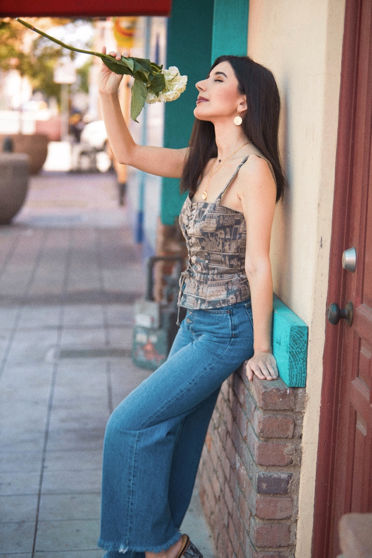 artsy top, corset top, printed top, statement top, Reformation, sustainable fashion, Uncommon James, Gorjana, fashion, summer style, summer 2021 style, outfit ideas, style diary, Boyish Jeans, high waist jeans, wide leg jeans