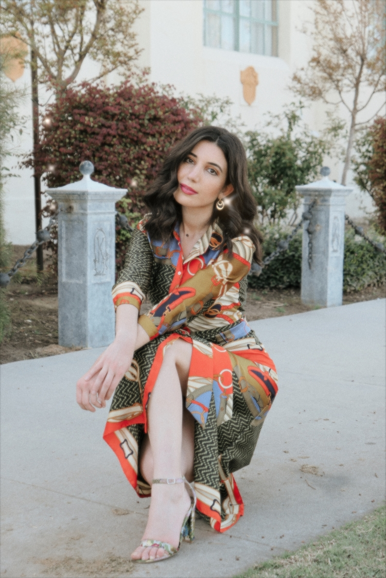 scarf print, scarf print dress, silk scarf, Versace, vintage Versace, Italian style, Italian fashion, outfit of the day, style diary, outfit inspiration, what I wore today, curly hair, gold earrings, vintage earrings, jacquard print, statement dress, jacquard shoes, strappy heels, historical buildings, Bakersfield, Kern County