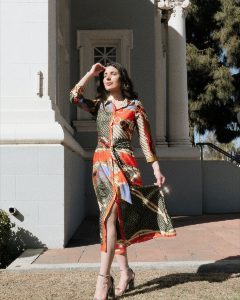 scarf print, scarf print dress, silk dress, button down, button down dress, maxi dress, Zara, Zara dress, Versace, Steve Madden, floral shoes, curly hair, fashion blogger, style diary, summer style, what I wore