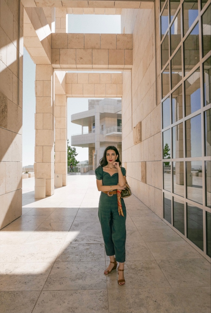 Getty Museum, Getty Center, The Getty, museum, art, Los Angeles, LA, LA museums, things to do in LA, Zara, Zara jumpsuit, jumpsuit, Louis Vuitton, outfit of the day, ootd, what I wore, brown leather belt, silk scarf